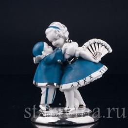 Фарфоровая статуэтка Маленький пьеро и девочка с веером, Германия, 1920-30 гг.